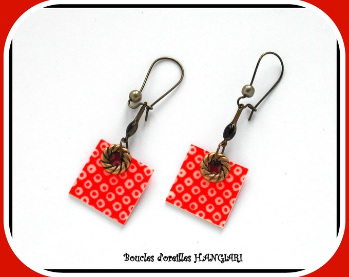 ASIA COLLECTION: Square orange earrings with Japanese polka dots, black sequin, long bronze sleeves