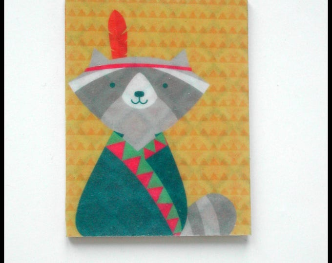 Raccoon brooch in print, hardwood cardboard, Native American style, raccoon jewelry, animal gift raccoon
