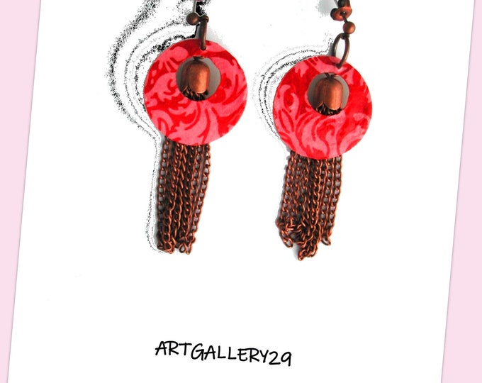 Creole collection: Creole earring in brass, red and pink paper, copper metal pendants, original creole, copper red jewelry