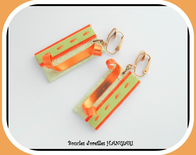 Earrings clips, rectangular, green anise, orange, flat gold aluminum, cardboard, original gift, original jewel, clips buckles