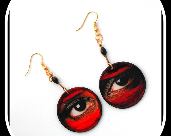 Ethnic ETSY // Earrings look, Touareg look, Touareg eyes, ethnic look, round black enamel paper