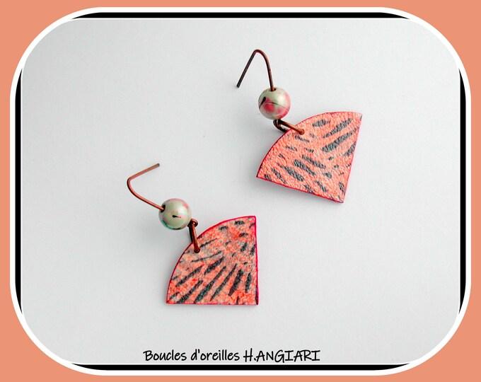 Fan shape earrings, graphic style, blue / pink colors, long copper hooks, wallpaper, blue graphic lines