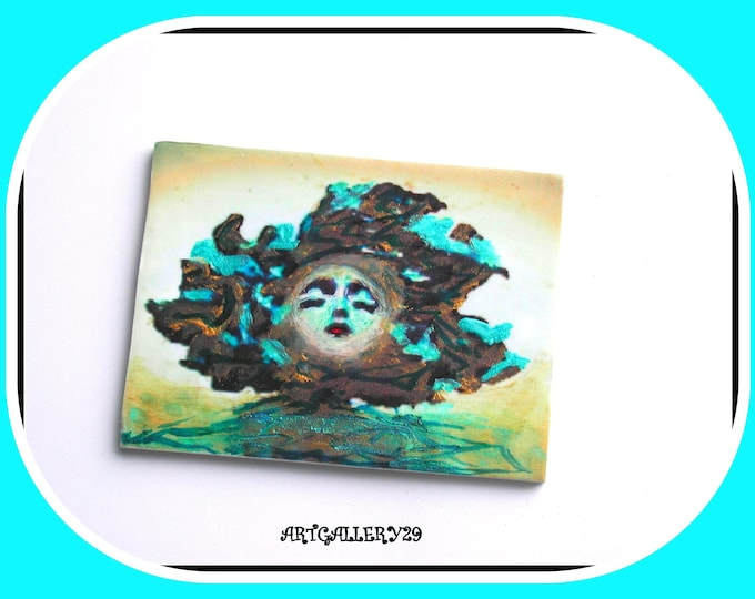 Fairy Collection: Fairy Brooch, Face, Gothic, Hand Painted, Lightweight, Large Brooch, Large Rectangle, Woman Gift, Brooch Mask
