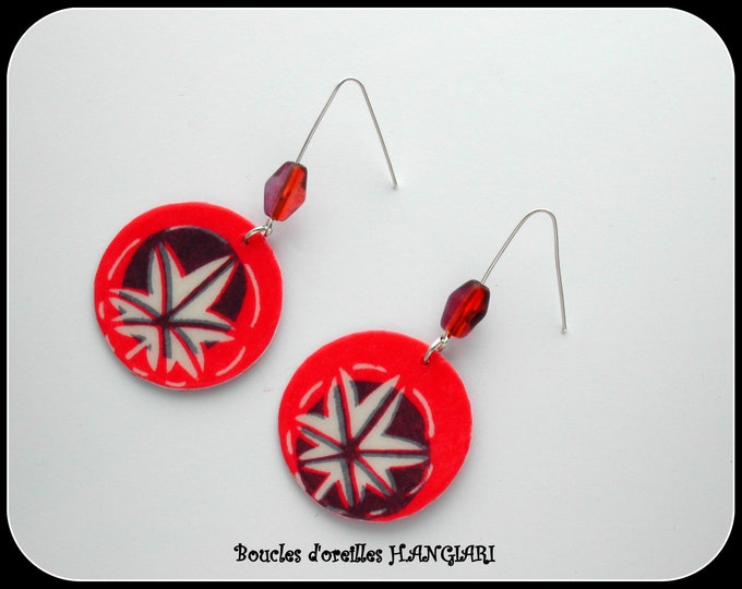 Dangle earrings, round, hand-painted leaf pattern, trendy jewelry, long, silver, nature, everyday