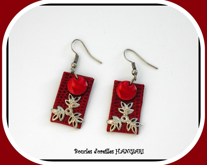 ETSY // Collection red / silver- Red simple earrings, rectangle, red woman accessory ~ Red enamelled sequin earrings