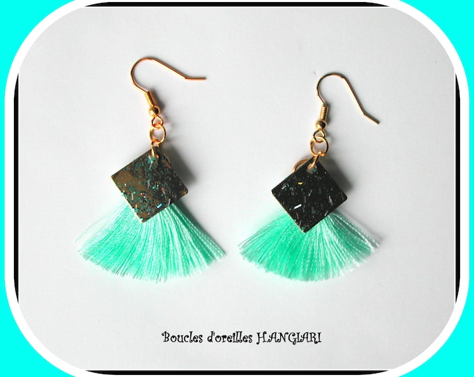 Collection # pompon #: Earrings / turquoise pompon / square brass / glitter / silk thread / golden hooks / refined earrings