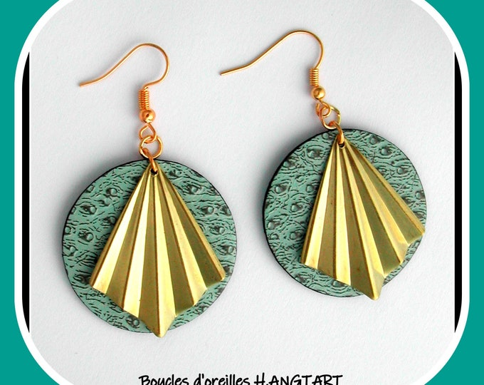 Faux leather collection: Large round earrings, water green, water green imitation leather, brass fan, faux leather and brass