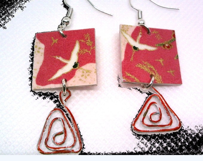 Japanese: Japanese earrings, salmon pink square, Japanese bird paper, spiral charm