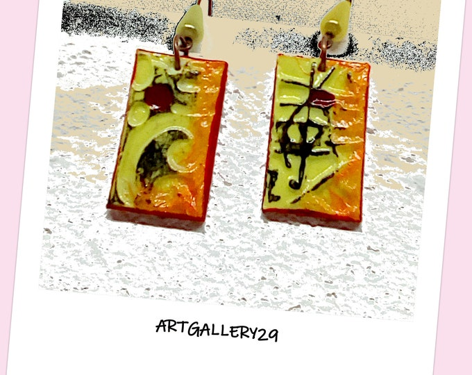 CERAMIC _ Ceramic earrings in anise green / orange cold porcelain, graphic / bohemian style, bright / original