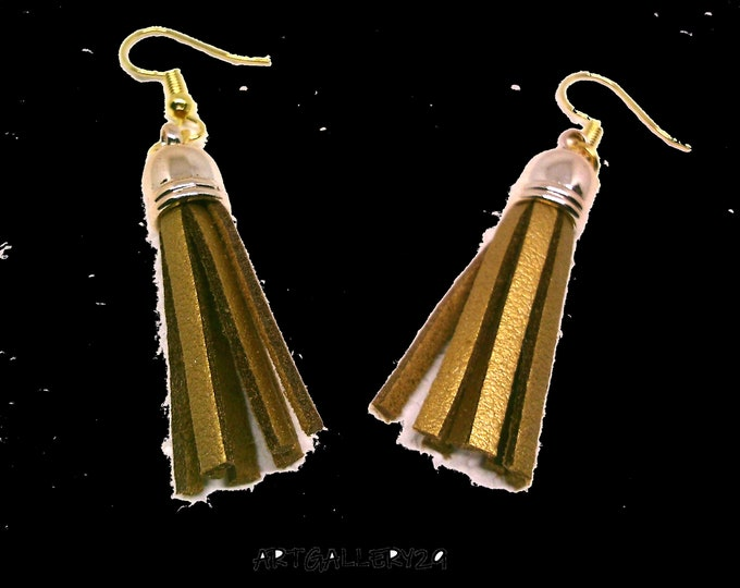 POMPON gold colored leather earrings, LEATHER GOLD tassel earrings, pair of leather earrings