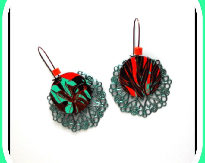 Superimposed round earrings, filigree, print, varnished paper, turquoise / orange, autumnal, autumn colors