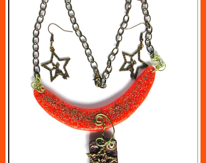 Primitive, adornment, primitive jewelry pendant and earrings, polymer clay, galaxy theme, moon, star, angel, bronze metal