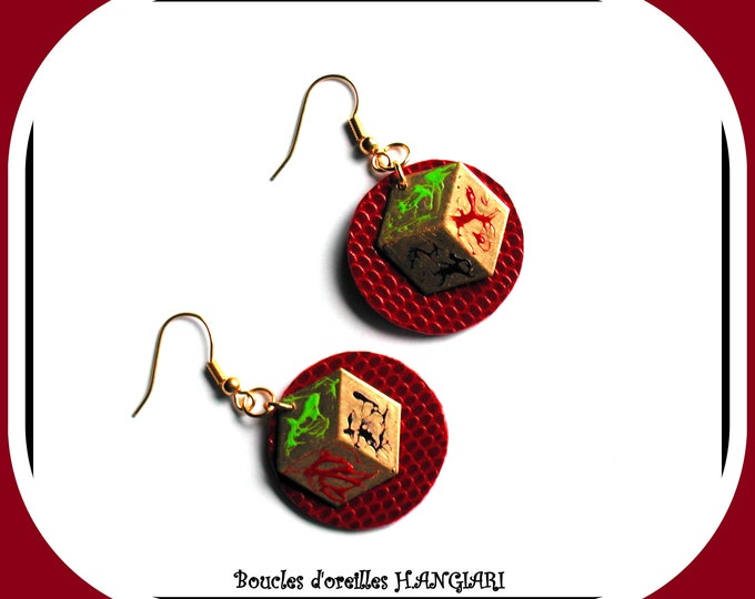 Elegant red and gold earrings, original, woman accessories, chic gift, golden hooks, wedding, delicate, round, square, gold metal