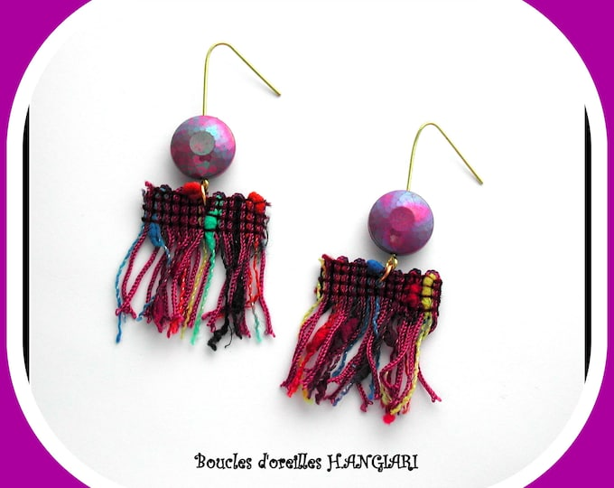 Multicolored Fringe Earrings, Fringe Fabric, Dominant Purple, Lightweight, Fabric Fringes, Gift for Her, Ethnic