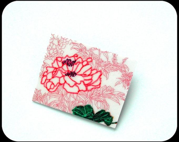 LOTUS Japanese patterned rectangular brooch, pink Japanese paint, glassified hard wood cardboard, light Zen brooch