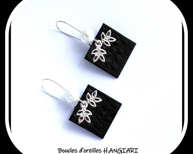 Etsy // CARRE NOIR earrings imitation LEATHER ostrich skin, black and silver, small square, long earrings, black faux leather