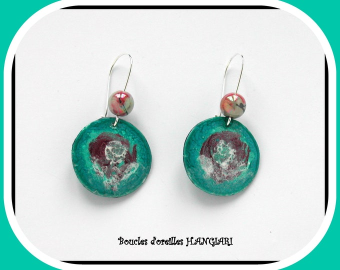 ETSY // Original jewelery, # turquoise # earrings, handmade motif, turquoise round, silver sleeper