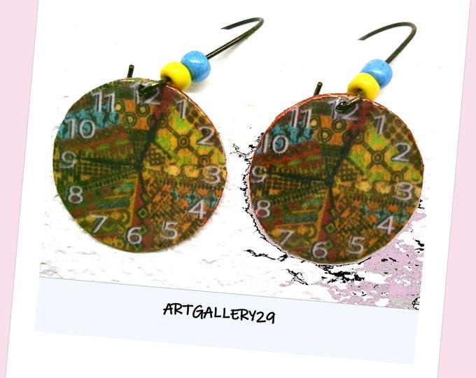 Timeless Round Paper Print Clock Earrings Gift for Women Gift for Teenage Girl