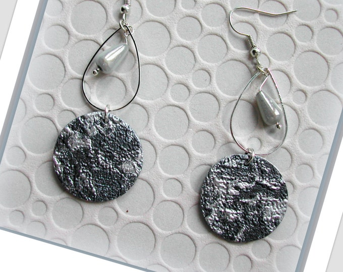 Grey and silver anthracite orange and silver oval oval ring earrings, long grey and silver earrings