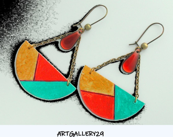 Mismatched patchwork earrings * Colored semicircle * turquoise // golden / copper * bronze chain * sequin enamelled drop