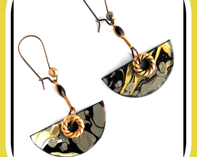 Gray | black | gold marbled paper semi-circle dangling earrings, bronze color sleeper earrings, chic gift jewelry