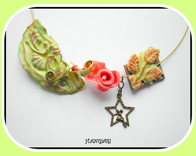 Necklace, wide choker in cold porcelain, green anise // salmon, green bib, Christmas gift or gift necklace original