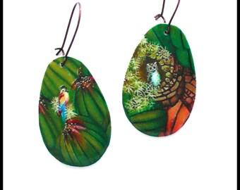 ETSY//  Boucles d'oreilles dormeuses tropicales  * grande goutte * motif jardin fleuri * Perroquet aras * chouette/hiboux