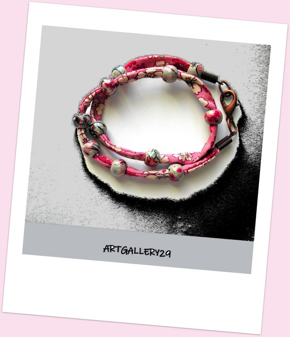 Double pink bracelet, pink liberty, double fabric, flower print bracelet, double liberty fabric bracelet accessory