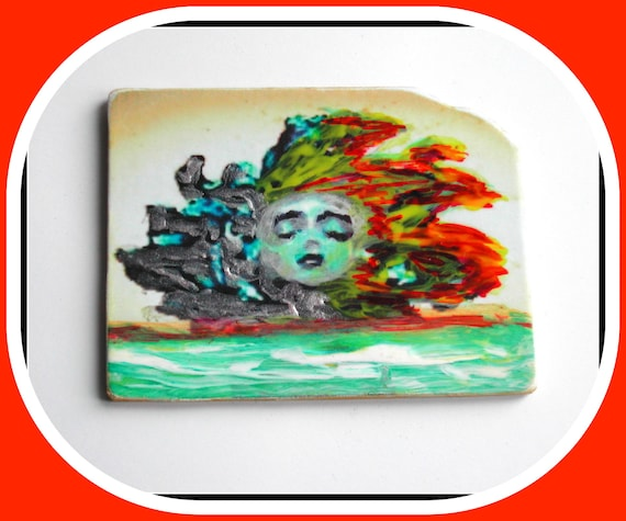 Gothic Collection: Gothic Brooch, Fairy Brooch, Hand Painted Face, Large Lightweight Rectangular Brooch