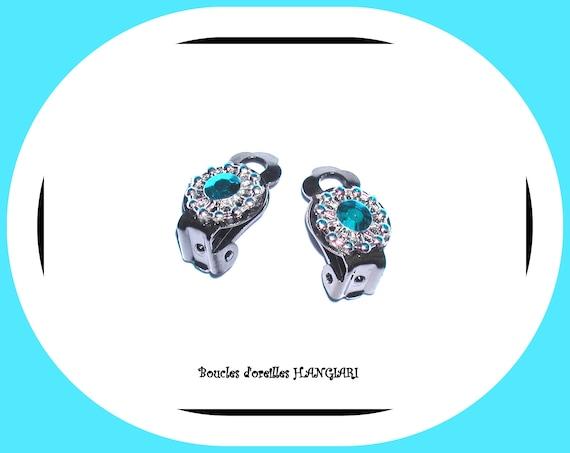 Turquoise clips earrings, gray metal ear clips, turquoise rhinestones, small clips, near turquoise ears, minimalist