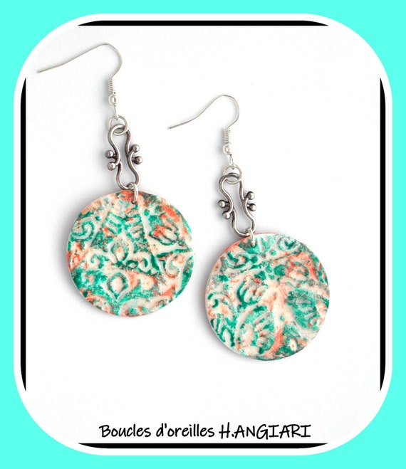 Arabesque collection: Turquoise round earrings, turquoise disc earrings, arabesque pattern, relief effect