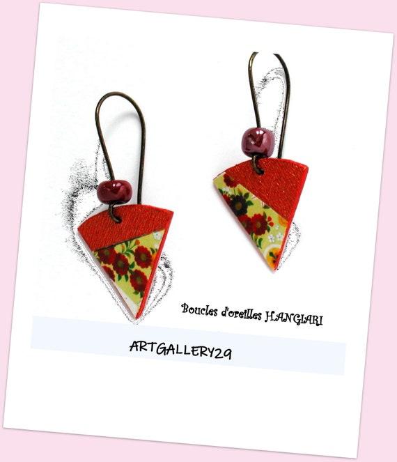 Japanese Inspired Paper Small Flower Earrings ~ Brown Flower Earrings