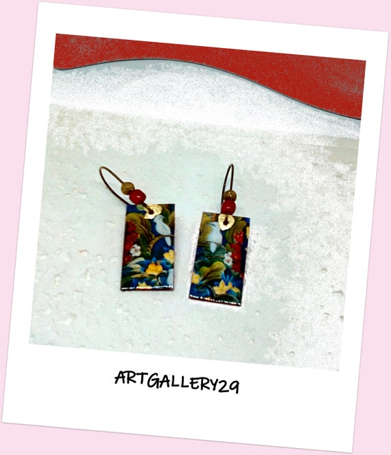 Exotic-- Rainforest pendant earrings, white tree/bird, nature pattern on small rectangle, bronze sleeper