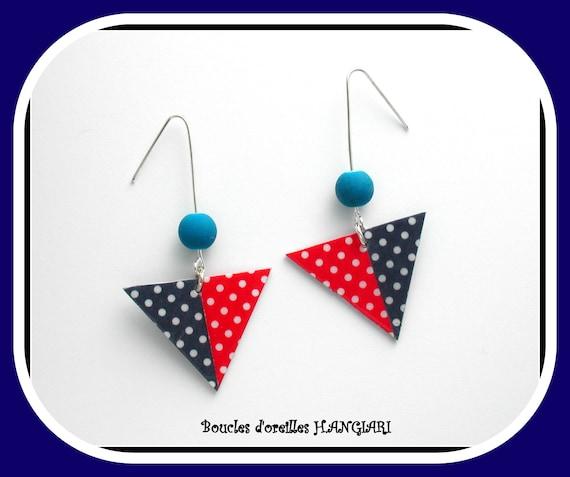 Asymmetrical Collection: Asymmetrical Red and Blue Polka Dot Earrings, Polka Dots, Red Polka Dot, Polka Dot Blue, Fun Gift, Girl Gift