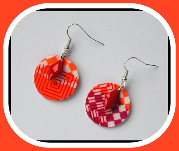 SEVENTIES COLLECTION: Geometric red round earrings // orange / Orange and red geometric earrings