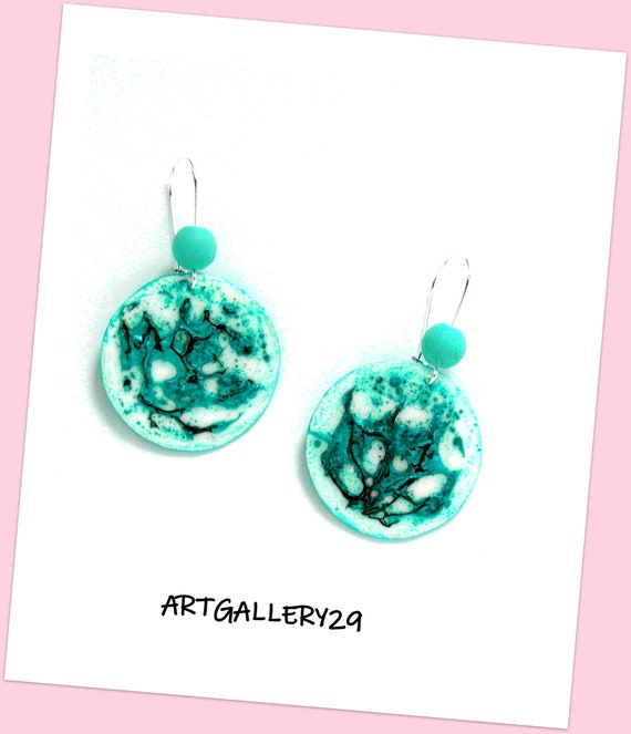 Graphic style - TURQUOISE round earrings, handmade, handcrafted creation, TURQUOISE round, turquoise gift idea