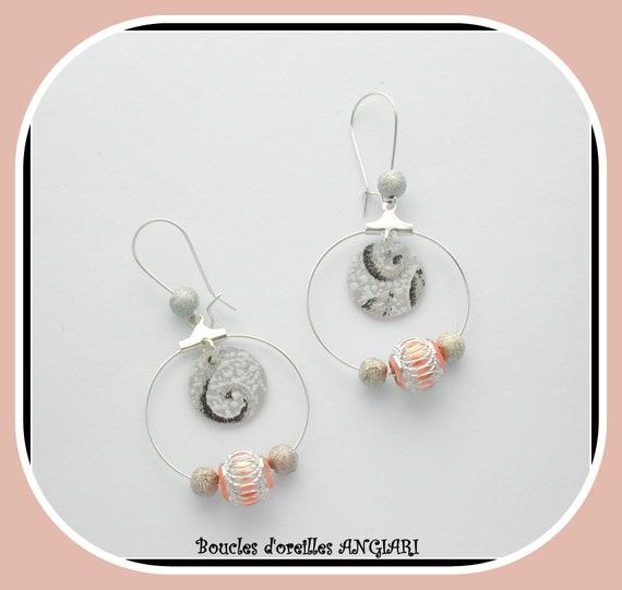 Etsy, earrings, SILVER CREOLES PANDORA style, paper, metal beads, hoop earrings