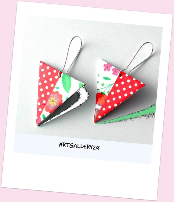 Triangle Collection: Triangles buckles, flowers pattern, red with white dots, mismatched, graphic and flowery, original jewel
