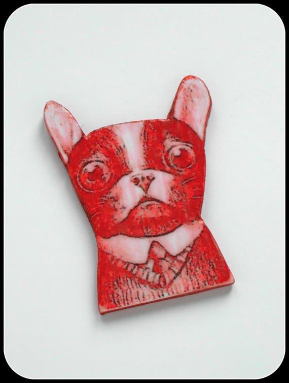 Bulldog: Rusty bulldog flat brooch, baby dog, funny dog, fun dog