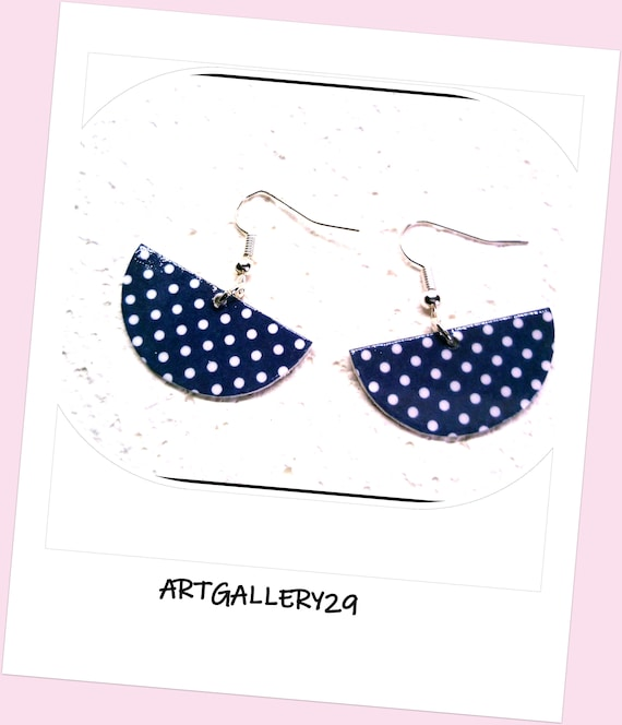 Navy blue semi-round semi-round earrings with white dots, paper on wood cardboard, silver hooks