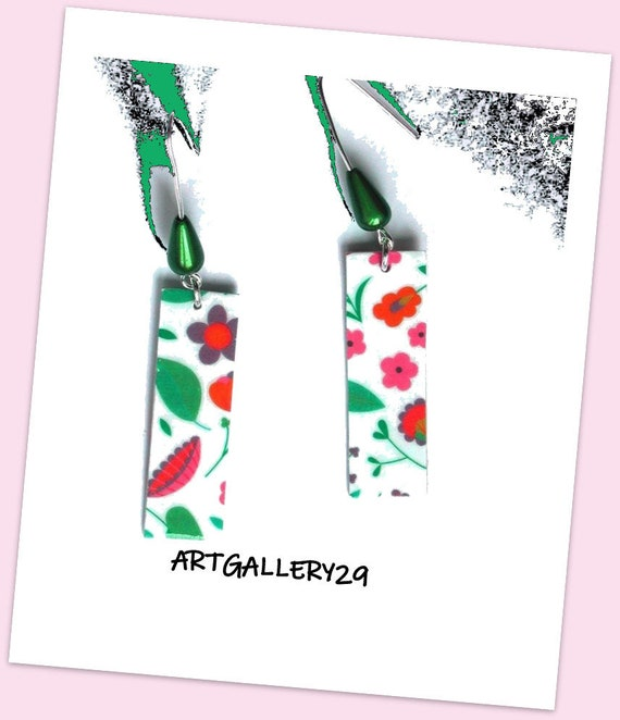 Floral Collection: Multicolored flowers earrings, rectangle shape, floral paper, small flowers, green pearls, springtime