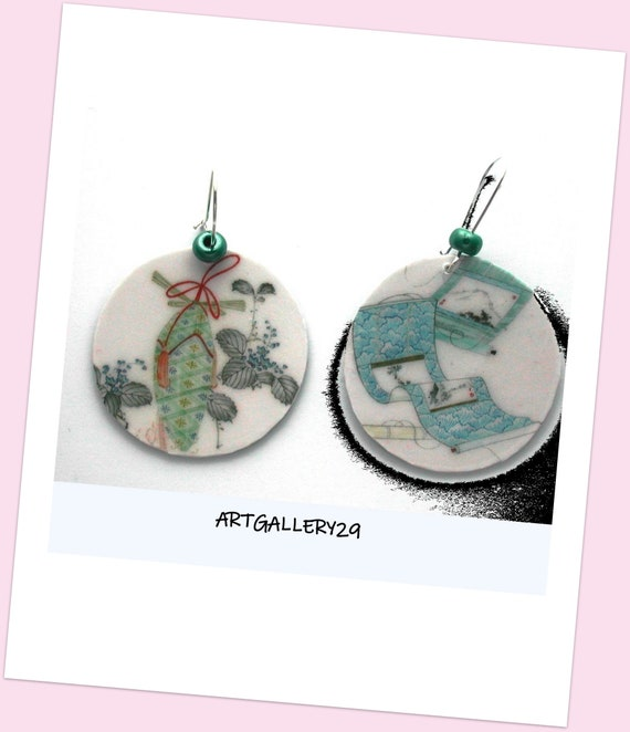 Japanese Earrings ~ Hand Painted Print ~ Japanese Design ~ Sleeper Mount