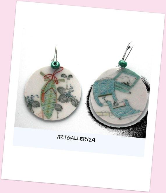 Japanese Earrings ~ Hand Painted Print ~ Japanese Design ~ Sleeper Mount