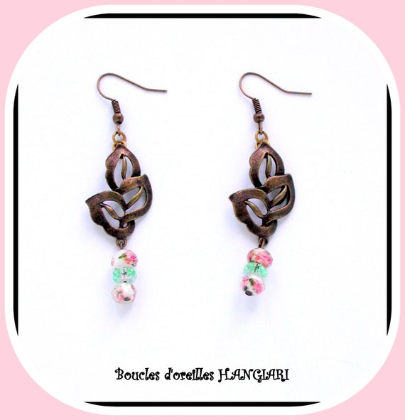 Bronze metal collection: Leaf foil bronze earrings, filigree, glass beads, jewelry accessory, nature gift, feminine