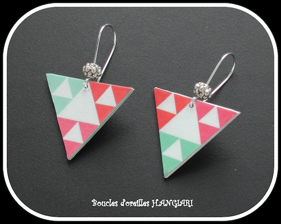ETSY // Graphic Collection: Green and Pink Pastel Triangles Earrings, Geometric Pattern, Tibetan Silver Beads