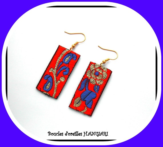 Earrings, Indian, electric blue, orange, gold, rectangle, golden hooks, colorful, floral