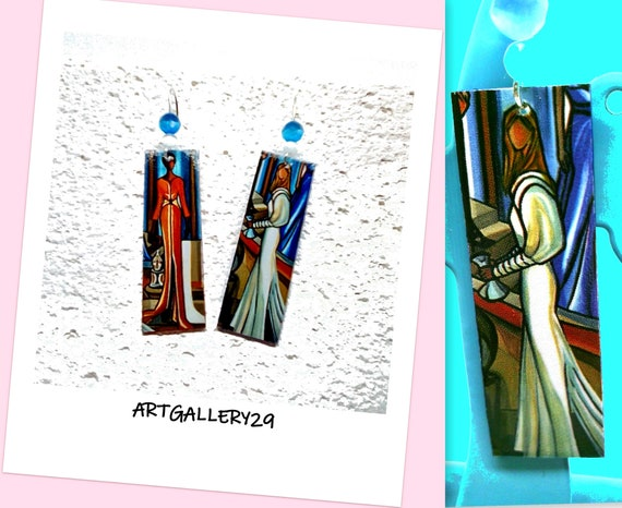 Boucles d'oreilles long rectangle minimaliste femme élégante/ raffinée/ longue/ colorée, boucles d'oreilles bleues dépareillées