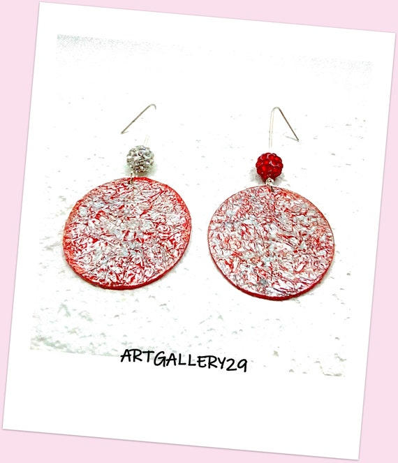 BIG ROND-- Round fat earrings/silver circle/raspberry red, bright/simple, mismatched, dotted earrings, pendant