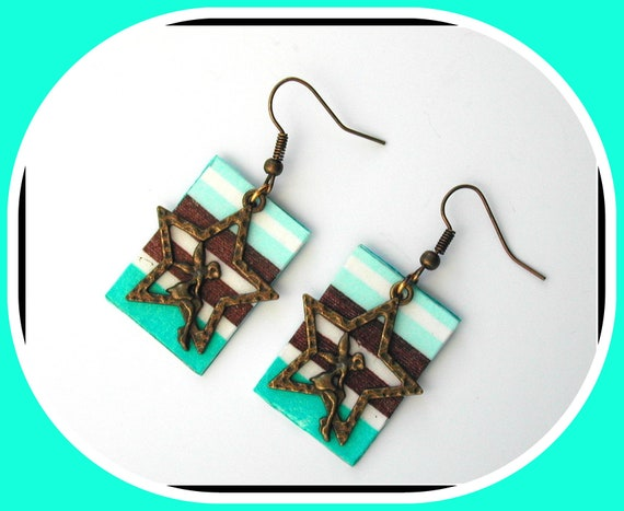TURQUOISE STRIPE: Turquoise and brown striped earrings Star and angel charm in bronze metal, turquoise / brown striped paper