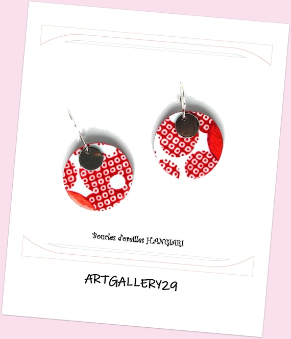JAPANESE POIS-- Round earrings, polka dots, Japanese polka dots, copper color, silver round sequin, graphic earrings